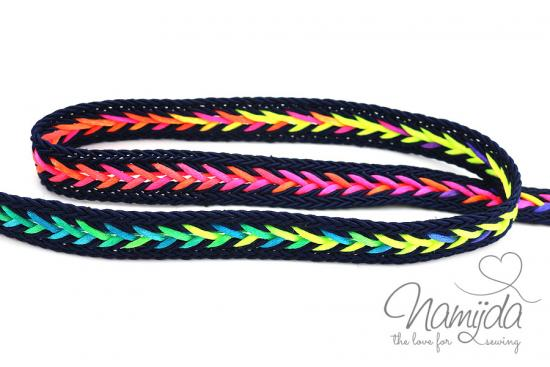 1 MTR. ♥ MuLTICOLOUR ZOPFMuSTER BAND - NAVY - 20mm ♥