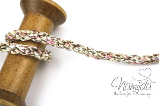 1 MTR. METALLIC MuLTICoLOUR Kordel - RoSE/KUPFER - 8mm