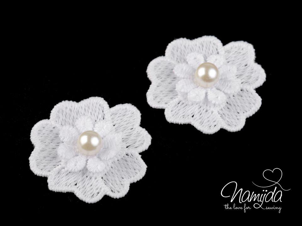 1 Stck. ♥Spitze Blumen Applikationen mit Perle - WeiSS - 4cm ...