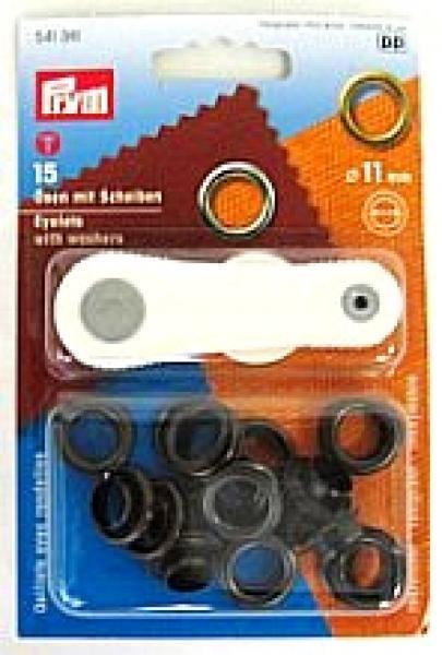 15 prym sen mit scheiben eyelets 11mm schwarz stoffe spitzen borten und jede menge. Black Bedroom Furniture Sets. Home Design Ideas