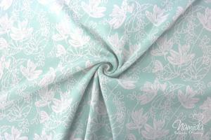 0,5 MTR.  JACQUARD STRICK TENDRIL  MINT/ROSE - BAUMWOLLSTRICK